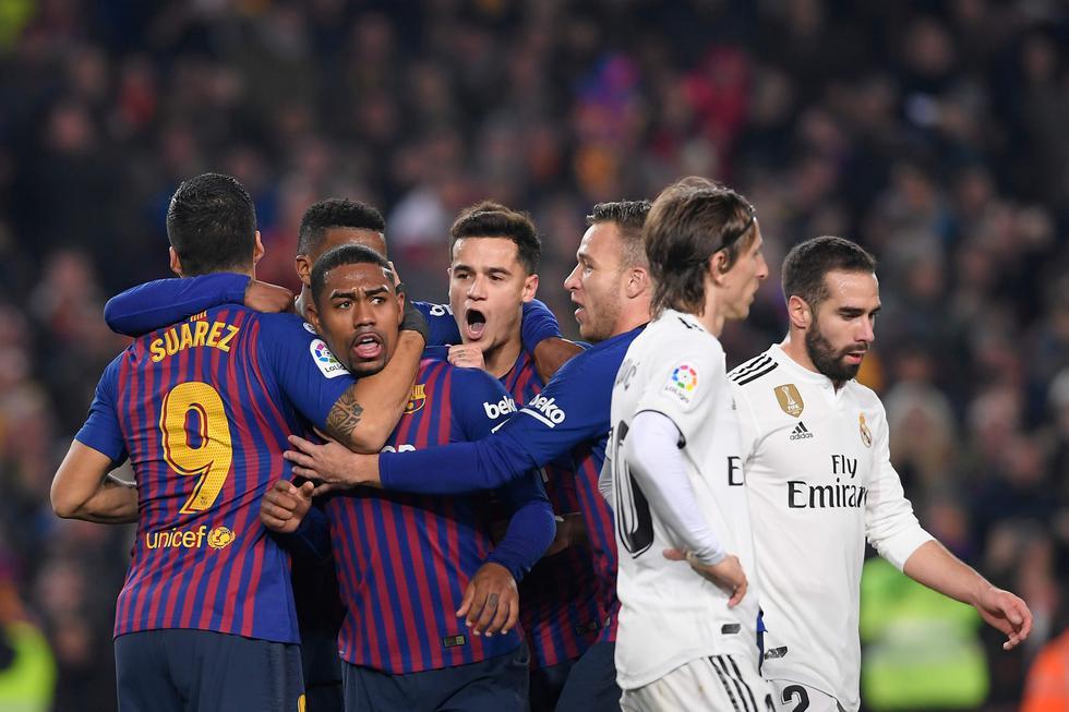 Barcelona vs Real Madrid: así fue el golazo de Malcom que puso el 1-1 en el clásico español por la Copa del Rey 2019. (Foto: AFP/AP/Reuters/EFE)