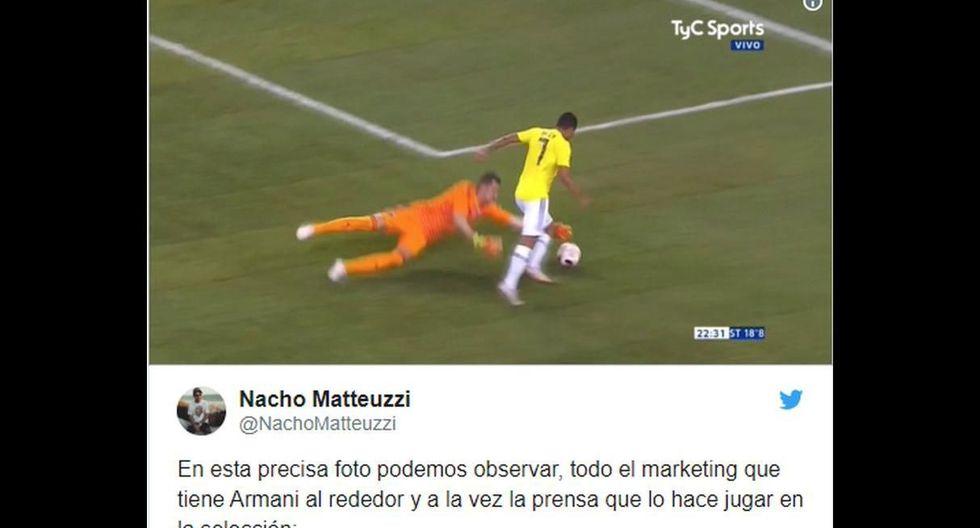Facebook: Colombia vs. Argentina y los memes del amistoso con Armani como protagonista.
