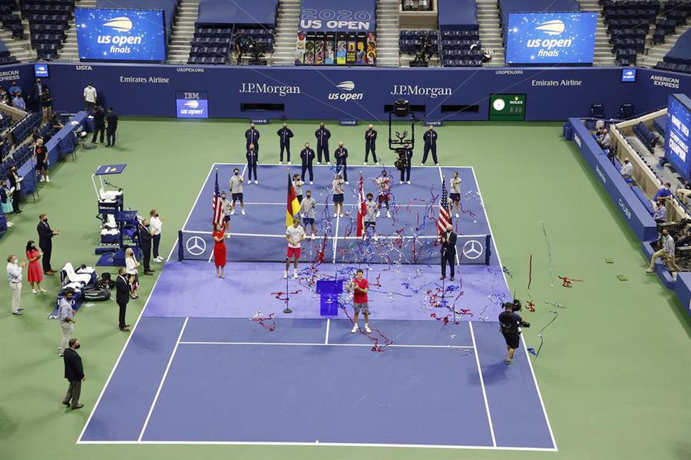 Al borde de perder su cuarta final seguida de Grand Slam, Thiem fue el primer tenista capaz de remontar dos sets en contra en una final del Abierto estadounidense desde el inicio de la era abierta hace medio siglo. (Foto: EFE)