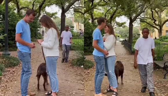 Un video viral muestra el extraño momento del que fue testigo una pareja cuando un espontáneo interrumpió su proposición de matrimonio para confesar un presunto crimen frente a cámaras. | Crédito: @kpohlman2 / TikTok
