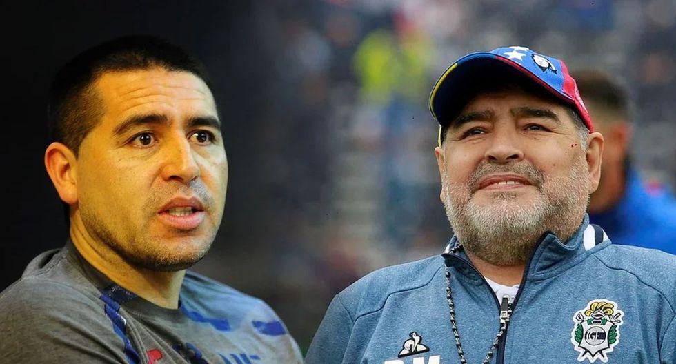Maradona y Riquelme fueron jugadores de Boca Juniors en 1997. (Internet)