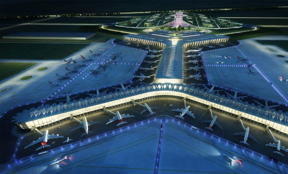 Diseño del cancelado Aeropuerto Internacional de la Ciudad de México a construirse sobre la laguna de Texcoco.