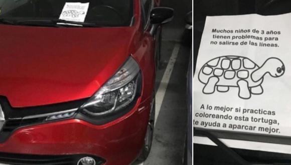 La irónica nota que recibió una persona luego de estacionar mal su automóvil impactó a miles de usuarios. (Foto: @LiosdeVecinos / Twitter)