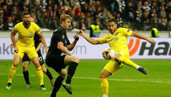 Chelsea empató ante Frankfurt en Alemania y buscará el próximo jueves en Londres el pase a la final de la Europa League. (Foto: AFP)