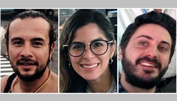 Los tres periodistas de la Agencia EFE, los colombianos Mauren Barriga; el fotógrafo Leonardo Muñoz, y el español Gonzalo Domínguez, detenidos por las autoridades de Venezuela en Caracas. (Foto: EFE)