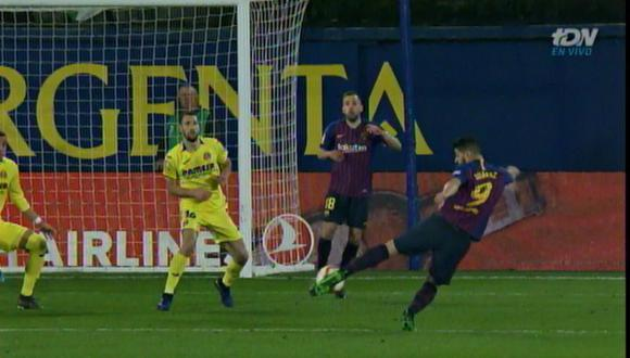 La enorme conquista de Suárez a segundos de acabar el Barcelona vs. Villarreal. (Foto: captura de pantalla)