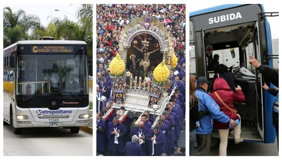 Metropolitano y corredores Morado y Azul aplicarán desvíos por los recorrido procesionales. (Fotos: Andina)