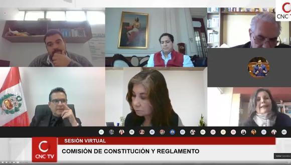 La Comisión de Constitución del Parlamento sesiona de manera virtual, a raíz del coronavirus. (Foto: Congreso)