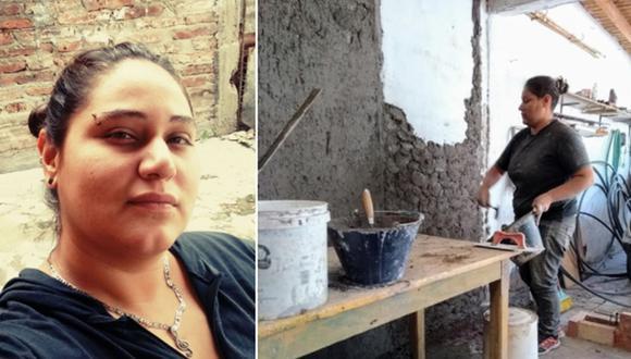 Verónica Ibarra, gracias a su excelente trabajo como albañil, ha ganado varios clientes que llegaron por recomendación de otras personas. (Foto: Verónica Ibarra / Facebook)