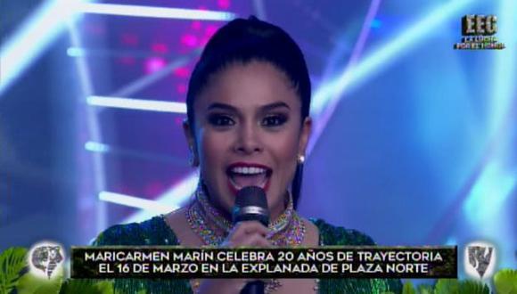 La cantante Maricarmen Marín invitó a todos sus seguidores a celebrar con ellas dos décadas de trayectoria en Plaza Norte. (Foto: Captura Esto es guerra)