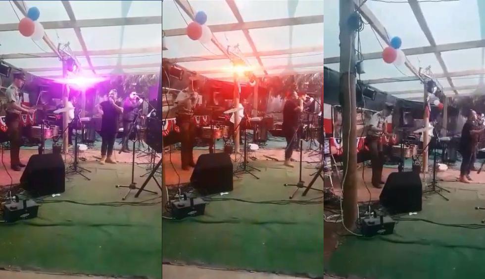 Una carabinero de Chile se animó a tocar la batería en una fiesta y todo quedó registrado en un video de Faceboook que no tardó en volverse viral. (Fotos: captura)
