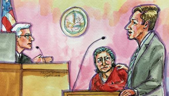 En esta ilustración, se aprecia al expresidente Alejandro Toledo observando a su abogado Graham Archer mientras expone los argumentos de defensa ante el juez Thomas S. Hixson. (Imagen: Vicki Ellen Behringer/ Reuters)