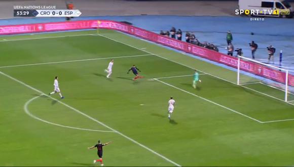 Andrej Kramaric anotó el 1-0 para los locales en el España vs. Croacia por la fecha 5 de la UEFA Nations League. El duelo se jugó en Zagreb (Foto: captura de pantalla)