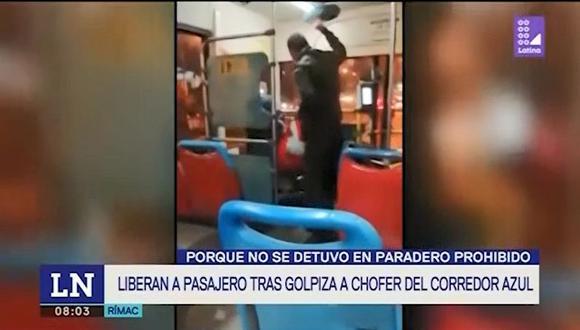 Agresión al conductor del bus del corredor azul ocurrió a la altura de la avenida Alcázar, en el Rímac. (Captura: Latina)