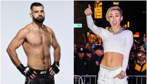 Julian Márquez ganó una pelea de UFC y aprovechó su momento para pedirle una cita a la cantante Miley Cyrus. (Foto: Instagram / @jmarquezmma y @mileycyrus)