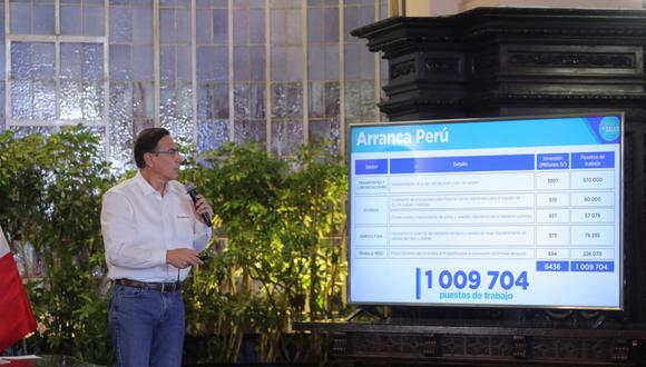 """El presidente Martín Vizcarra explica el plan """"Arranca Perú"""" durante su conferencia del pasado lunes."""