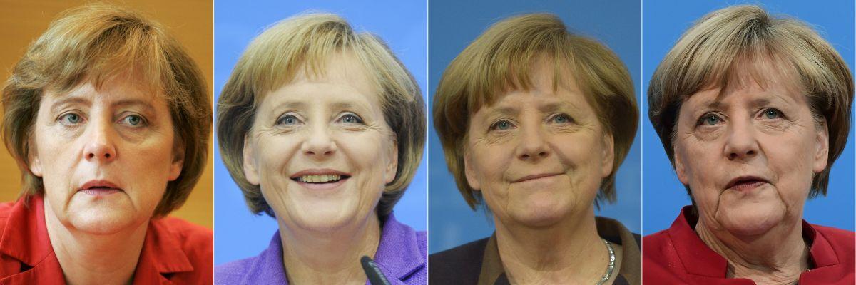 Esta combinación de imágenes de archivo muestra a la canciller alemana Angela Merkel en los años 2005, 2009, 2013 y 2016. (Fotos de AFP).
