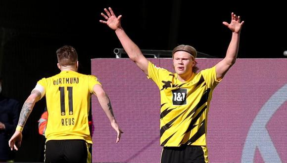 Erling Haaland selló la victoria de Borussia Dortmund ante Wolfsburgo con un doblete   Foto: REUTERS