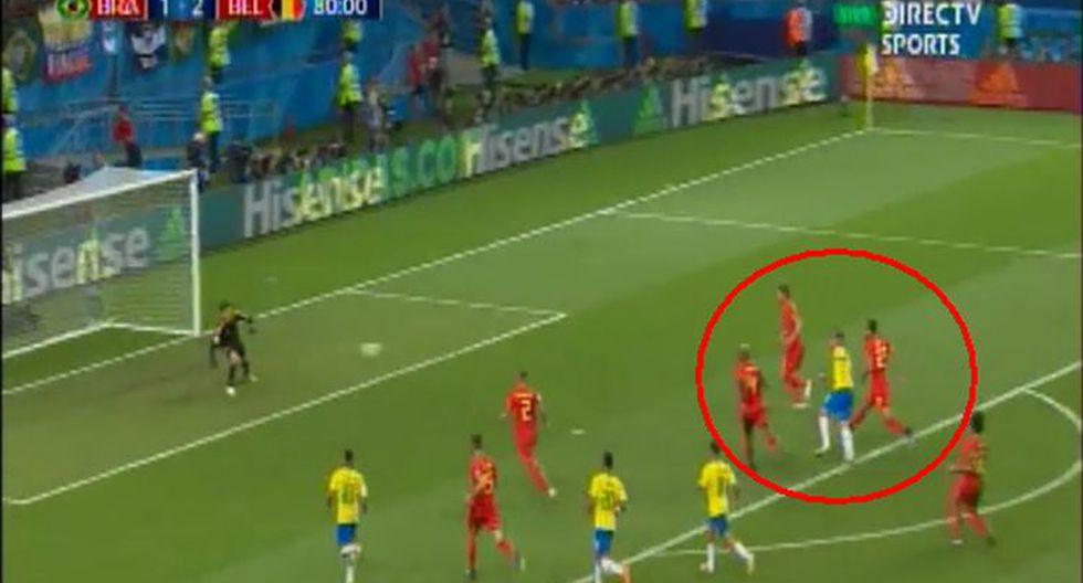 Brasil vs. Bélgica: Renato Augusto casi marca el 2-2. (Foto: captura de DirecTV)