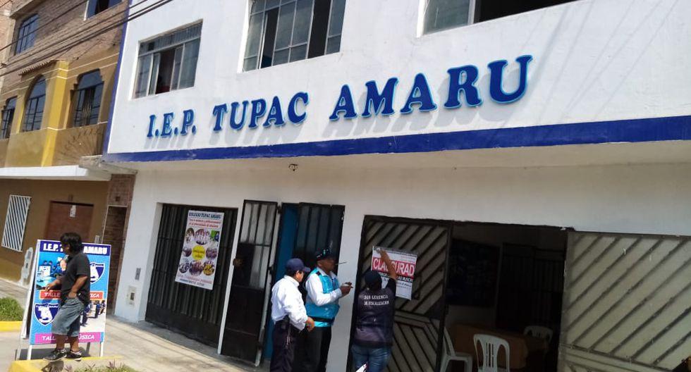 """Colegio """"Túpac Amaru"""" de Carmen de la Legua Reynoso fue clausurado por no contar con licencia de funcionamiento. (Foto: Difusión)"""