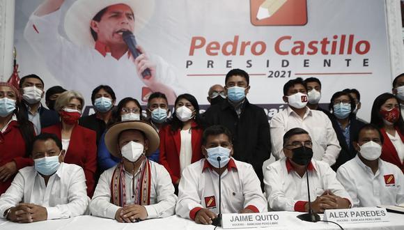 La bancada electa de Perú Libre se pronunció para exigir al JNE que proclame como ganador de la segunda vuelta a Pedro Castillo. (Foto: César Campos / @photo.gec)