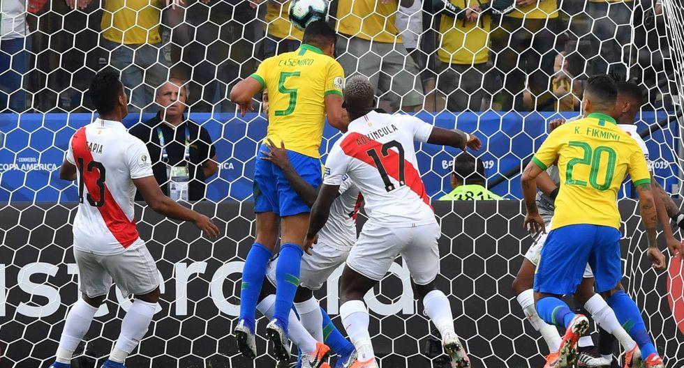 Brasil vs. Perú: Casemiro marcó el 1-0 tras tiro de esquina de Coutinho en Copa América 2019   VIDEO. (Foto: AFP)