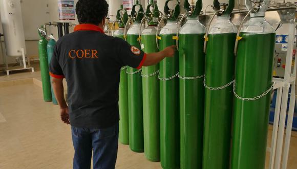 Lambayeque de los 500 balones de oxígeno, 300 serán destinados para el Centro de Operaciones de Emergencia Regional. (Foto: Gore Lambayeque)