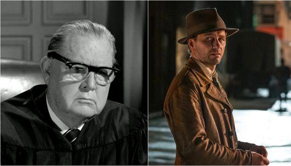 """A la izquierda Erle Stanley Gardner, autor de """"Perry Mason"""", durante su cameo en el último episodio de la serie clásica (1966). A la derecha, Matthew Rhys como el detective/ abogado de la nueva versión de HBO (2020). Fotos: CBS/ HBO."""