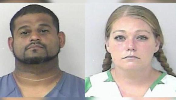Óscar Torres y Brittany Kirschenhofer: Pareja que encerró a adolescente durante meses y los alimentó esporádicamente. (Captura de pantalla / Telemundo / Oficina del Sheriff del Condado de St. Lucie).