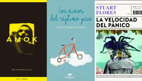 """""""Ámok"""", de Giacomo Roncagliolo;  """"Los niños del séptimo piso"""" de Camila Cantuarias; y """"La velocidad del pánico"""" de Stuart Flores. (Foto: Difusión)."""