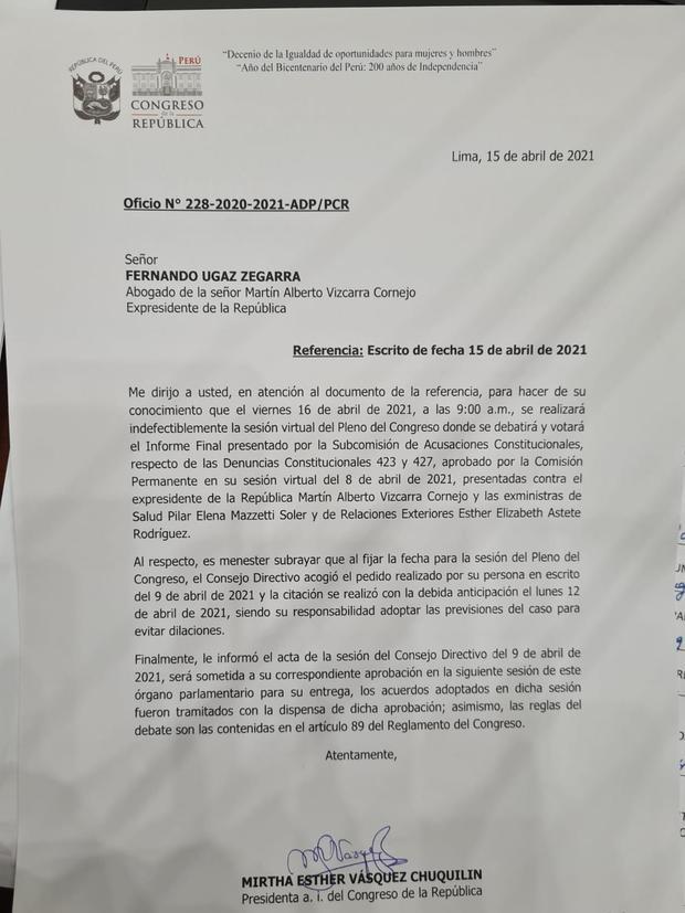 Oficio enviado por Mirtha Vásquez al abogado de Martín Vizcarra. (Foto: GEC)