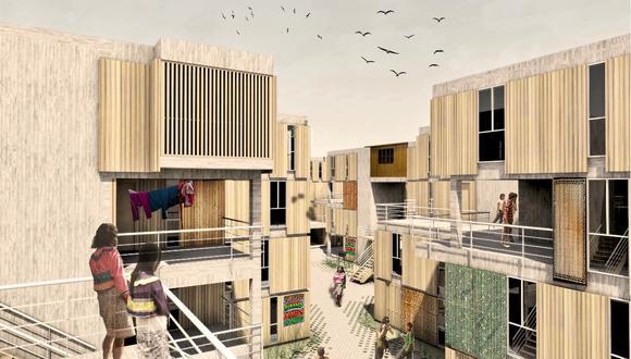 Proyecto de vivienda presentado por el arquitecto Javier Lazarte, quien se basa en los asentamientos shipibos en la selva y en Cantagallo y presenta una opción que busca relacionar la comunidad con su entorno construido.