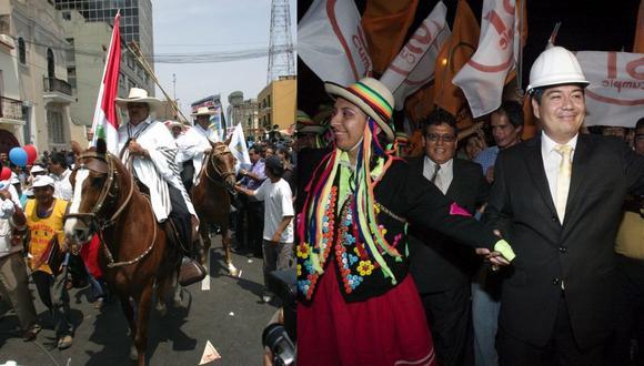 El excongresista Luis Guerrero (izquierda) acudió montado en un caballo al JEE en enero del 2006 para inscribir su candidatura presidencial por el desaparecido partido Perú Ahora. En el 2011, Carlos Zúñiga (derecha) encabezó un animoso pasacalle antes de registrar su fórmula por el partido Sí Cumple.  (Fotos: El Comercio)