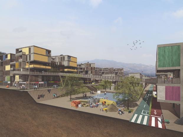 Proyecto de Djanira Jaramillo y Jean Paul Sihuenta sobre estrategias de ocupación urbana para rehabitar las laderas.