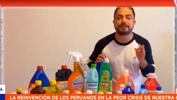 Moisés Vega, exmiembro de los Hermanos Yaipen, ahora vende artículos de limpieza. (Foto: Instagram/ captura de video)