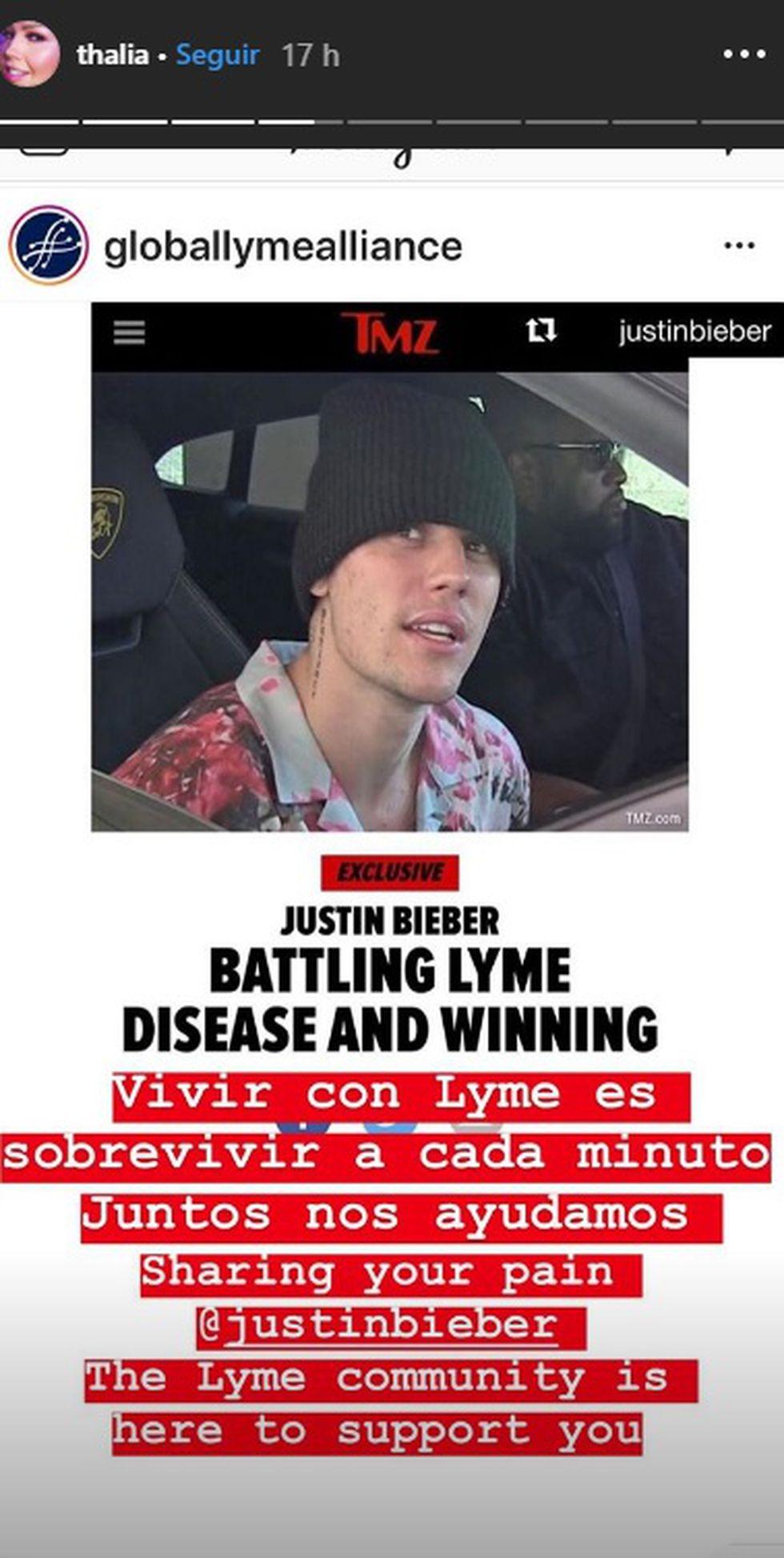 Thalía se solidariza con Justin Bieber al pader la misma enfermedad. (Foto: Historias de Instagram @Thalía)