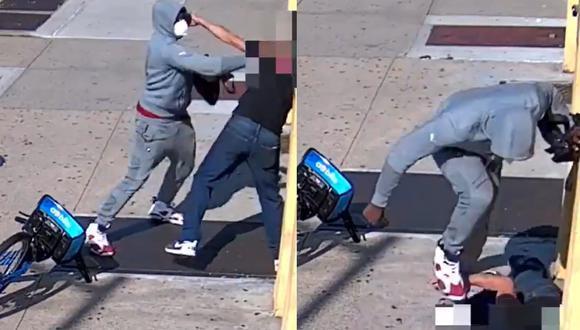 Ladrón golpeando y pisoteando el rostro de su víctima durante un asalto registrado en Brooklyn, Nueva York. (Foto: captura de pantalla   Twitter   Policía NYPD)