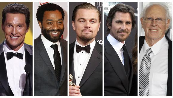 Matthew McConaughey, Chiwetel Ejiofor, Leonardo DiCaprio, Christian Bale y Bruce Dern. (Fotos: Agencias)