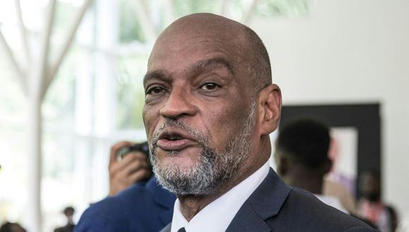 El primer ministro de Haití, Ariel Henry, asiste a una ceremonia en honor del fallecido presidente haitiano Jovenel Moise en Puerto Príncipe, el 20 de julio de 2021. (Valerie Baeriswyl / AFP).