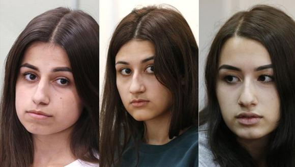 Angelina a la izquierda tenía 18 años cuando mató a su padre, Maria, en el centro, tenía 17 y Krestina 19 años. Foto: Getty images, vía BBC Mundo