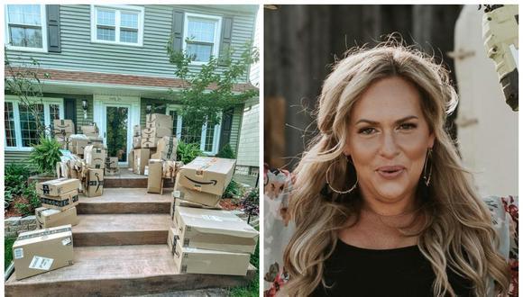 Jillian Cannan, de Nueva York, Estados Unidos, recibió por error 150 paquetes de Amazon. (Foto: Facebook | Jillian Cannan)
