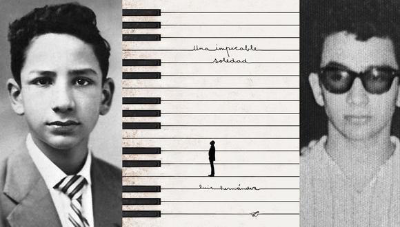 """Dos fotos de la infancia y juventud de Luis Hernández flanquean la portada de """"Una impecable soledad"""", reciente reedición de la obra del poeta. (Fotos: Pesopluma)"""