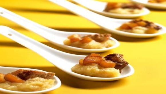Cucharitas con pavo, manzana y membrillo