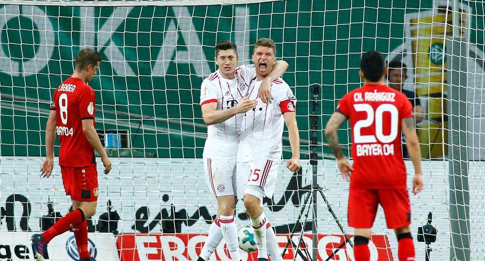 Bayern Múnich aplastó a Bayer Leverkusen por las semifinales de la Copa Alemana. Tres de los seis goles fueron anotados por Thomas Muller. (Foto: AFP)