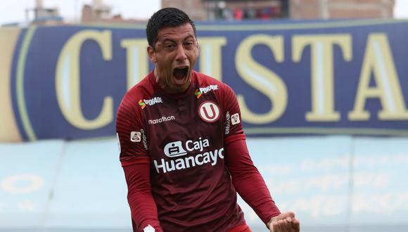 El uruguayo Federico Alonso ya tiene 3 goles con la 'U'. Este fue el primero, contra Carabobo por la Libertadores. Grito, vena, festejo con los compañeros. (Foto: Liga 1)
