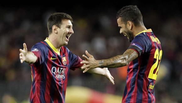 Dani Alves compartió divertido mensaje en una publicación con Lionel Messi. (Foto: AFP)