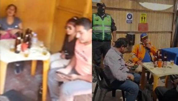 Las autoridades encontraron a 14 personas bebiendo licor dentro del inmueble. (Foto: captura/Yaku Noticias)