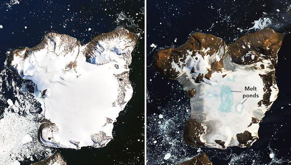 Fotografías tomadas el 4 y 13 de febrero muestran la reducción de la capa de hielo de la isla Eagle, ubicada en la Antártida. (Foto: NASA)