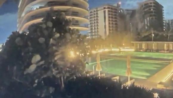 Derrumbe en Miami: el video del momento del colapso del edificio Champlain Towers. (Captura de video).