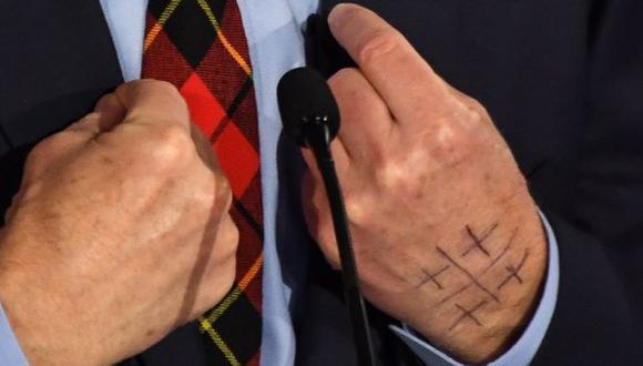El símbolo apareció en la mano de Tom Steyer por primera vez a finales de 2017. No es la única persona que lo muestra. (Foto: Getty Images, vía BBC Mundo).